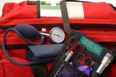 Paramedic kit 1. Paramedic's first aid kit with a belt carried instrument pouch Royalty Free Stock Images