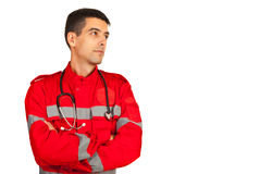 Paramedic looking away Royalty Free Stock Photography