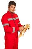 Paramedic man examine plush toy Stock Photography