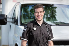 Paramedic Man Standing near Ambulance Royalty Free Stock Images