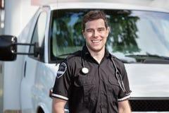 Paramedic Man Standing near Ambulance Royalty Free Stock Images