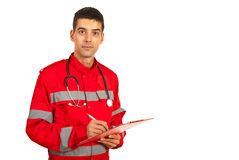Paramedic man taking notes Royalty Free Stock Photo