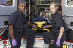 paramedic patient preparing to unload Στοκ Φωτογραφίες