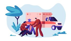 Paramedic Profession Medical Character Rescue Health on Ambulance. Medic Worker Urgent Transportation on Medicine Vehicle. To Hospital for Healthcare. Flat stock illustration