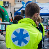Paramedic with radio equipment wait for call Stock Photo