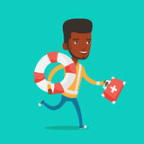 Paramedic running with first aid box. African-american paramedic running with first aid box. Young paramedic running to patients. Emergency doctor running with Royalty Free Stock Images