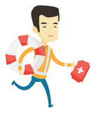 Paramedic running with first aid box. Young asian paramedic running to patients. Paramedic running with first aid box. Emergency doctor running with first aid Stock Photo