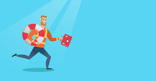 Paramedic running with first aid box. Royalty Free Stock Photos
