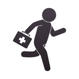 Paramedic running with medical kit Stock Photography