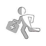 Paramedic running with medical kit Stock Images