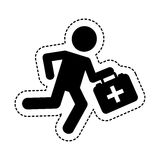 Paramedic running with medical kit Royalty Free Stock Image
