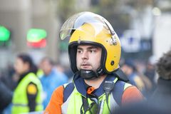 Paramedic service in a football stadium. Madrid, Spain, December 9, 2018: Paramedic service in a football stadium Santiago Bernabeu. Special service on the stock photography