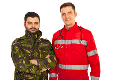 Paramedic and soldier man Stock Photography