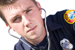 Paramedic with stethoscope, portrait, close-up, cut out Stock Image