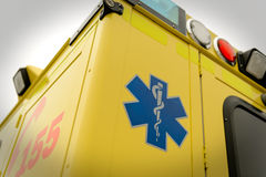 Paramedic symbol and phone number emergency truck Stock Photos