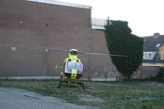 Paramedic trauma helicopter PH-ELP or Lifeliner 2 leaving scene of incident in Waddinxveen the Netherlands. Paramedic trauma helicopter PH-ELP or Lifeliner 2 stock photos