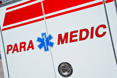 Paramedic truck. Close up of a Paramedic medical symbol for Emergency - Star of Life - on a fire truck.  These trucks are first responders in the US to 911 Royalty Free Stock Photos