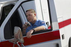 Paramedic Using CB Radio Royalty Free Stock Image