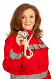 Paramedic woman showing stethoscope Royalty Free Stock Photography
