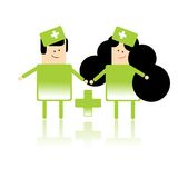 Paramedic workers. Original set of two medics, doctors in green uniform, man and woman. Vector illustration Stock Images