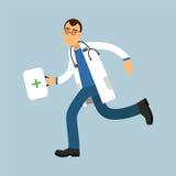 Paramedicinsk teckenspring för manlig doktor med första hjälpenasken, medicinsk vårdillustration stock illustrationer
