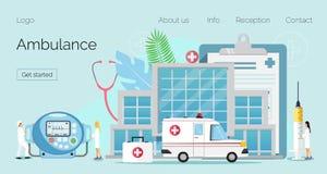 Paramedico, vettore piano di concetto della squadra di soccorso di emergenza illustrazione vettoriale