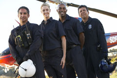 Paramedics And Crew In Front Of Helicopter Stock Images