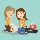 Paramedics doing cardiopulmonary resuscitation Royalty Free Stock Images
