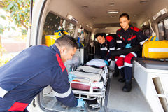 Paramedics stretcher ambulance royalty free stock photography