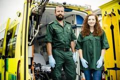 Paramedics at work with an ambulance royalty free stock photography