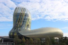 Parametric Architecture - Cité du Vin, Bordeaux. La cité du Vin, International Wine `Museum` and Foundation in Bordeaux with it`s parametric architecture stock photos