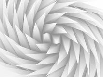 Parametric triangular swirl pattern, 3d. Abstract geometric background with white parametric triangular swirl pattern, 3d render illustration Stock Image