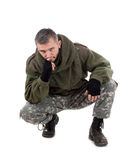 Paramilitary soldier thinking Stock Photography