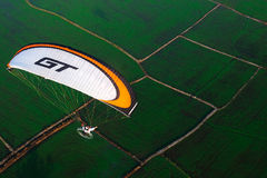 Paramotor bird eye view Royalty Free Stock Photos