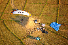 Paramotor bird eye view Royalty Free Stock Photo
