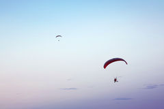 Paramotor in the blue sky Royalty Free Stock Photography