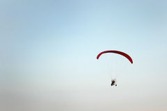 Paramotor in the blue sky Royalty Free Stock Photos