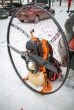 Paramotor engine on the snow Stock Photo