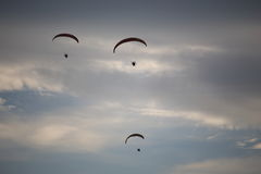 Paramotor flying in the sky Royalty Free Stock Images