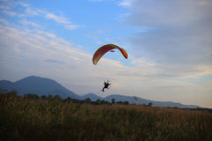 Paramotor flying in the sky Stock Images