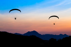 Paramotor flying in the sky Stock Image