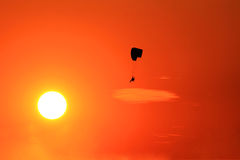 Paramotor flying on sunset Royalty Free Stock Photography