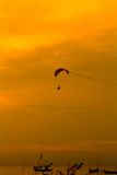 Paramotor in the sunset Stock Photo