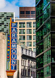 Paramount sign, and buildings in downtown Boston, Massachusetts. Stock Photography