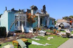 Paramount Studios Pictures Destroyed building after plane crash scene. Los Angeles, Hollywood. Tourist tour Stock Images
