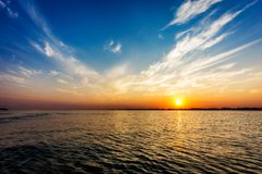 Parana river at sunset, Brazil. Border of Sao Paulo and Mato Grosso do sul states royalty free stock image