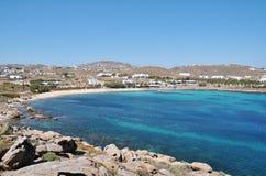 Paranga Strand in Mykonos Stockfotos