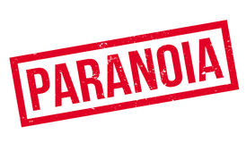 Paranoia rubber stamp. Grunge design with dust scratches. Effects can be easily removed for a clean, crisp look. Color is easily changed Stock Photo