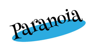 Paranoia rubber stamp. Grunge design with dust scratches. Effects can be easily removed for a clean, crisp look. Color is easily changed Stock Photography