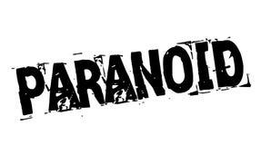 Paranoid black stamp. Paranoid black typographic stamp. Distressed grunge series stock illustration